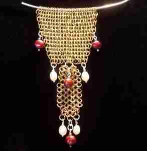 Brass Necklace with Pearls